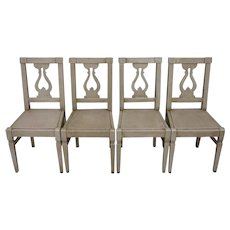 Set of 4 Antique French Directoire Style Pine Dining Chairs