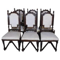 Set of 6 19th Century Antique French Gothic Style Walnut Dining Chairs