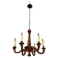 Antique French Louis XV Style 6-Light Walnut Chandelier