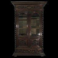 19th Century Antique French Renaissance Style Oak Bookcase