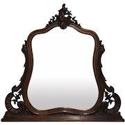 19th Century Antique French Louis XV Rococo Walnut Vanity Mirror