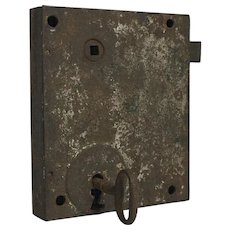 18th Century European Door Lock With Key