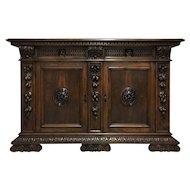 19th Century Antique Italian Renaissance Style Walnut Buffet