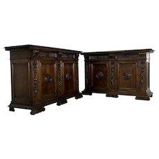Pair of Antique Italian Renaissance Style Walnut Buffets