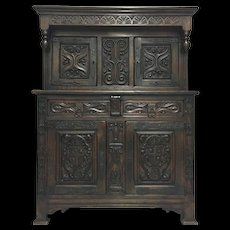 19th Century French Renaissance Style Oak Buffet Deux Corps Cabinet