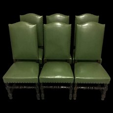 Set of 6 Antique French Louis XIII Style Oak Dining Chairs