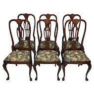 Set of 6 English Chippendale Mahogany Dining Chairs