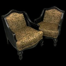 Large Pair Of Louis XV Style Caned Bergeres Armchairs