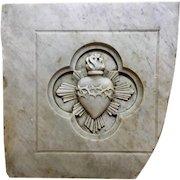 19th Century Carrara Marble Sacred Heart Panel