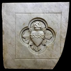 19th Century Carrara Marble Sacred Heart Panel