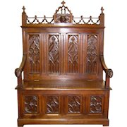 19th Century French Gothic Style Walnut Bench