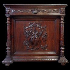 19th Century Antique French Renaissance Style Oak Hunting Cabinet