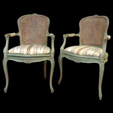 Pair of French Louis XV Provencal Style Armchairs