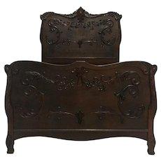 Antique Italian Rococo Style Oak Bed