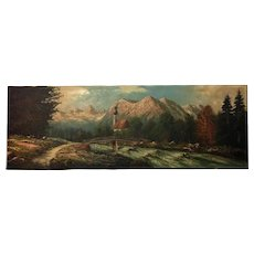 Oil On Canvas Painting Ramsau Church by Hallstein