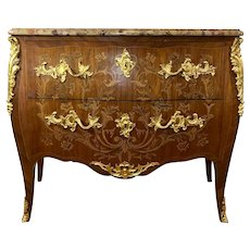 Antique French Louis XV Style Bombe Commode