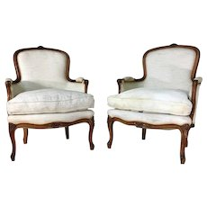 Pair of 19th Century Antique French Louis XV Bergeres