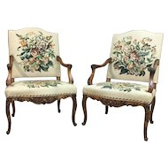 Pair of 19th Century Antique French Louis XV Style Walnut Armchairs