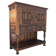 19th Century Antique French Louis XIV Style Walnut Credenza Cabinet