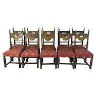 Set of 10 Antique French Renaissance Style Oak Dining Chairs