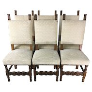 Set of 6 Antique Spanish Renaissance Style Dining Chairs