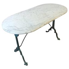 French Cast Iron Marble Top Bistro Table From Paris