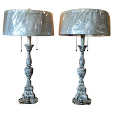 Pair of 19th Century French Antique Candlesticks Lamps