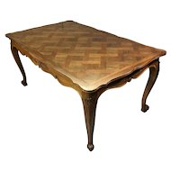 Antique Country French Louis XV Style Walnut Dining Table