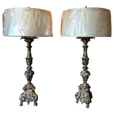 Pair of 19th Century Italian Antique Candlesticks Lamps