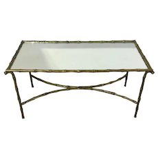 A Maison Baguès Style Faux Bamboo Brass Coffee Table