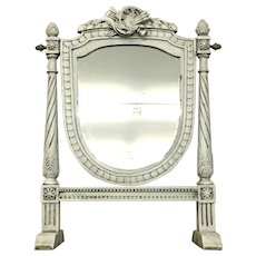 19th Century Antique French Louis XVI Style Psyche Vanity Mirror