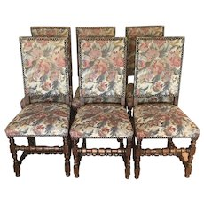 Set Of 6 Antique French Renaissance Style Dining Chairs