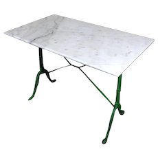 Antique French Cast Iron Marble Top Bistro Table