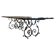 Long Antique French Wrought Iron Dining Table