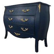 Vintage French Louis XV Style Bombe Chest Of Drawers