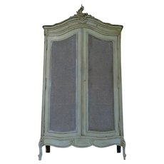 19th Century Antique French Louis XV Rococo Caned Armoire