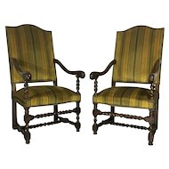 Pair of 19th Century Antique French Louis XIII Style Armchairs