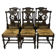 Set Of 6 Antique French Brittany Dining Chairs
