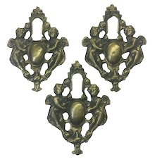Set of 3 18th Century French Brass Escutcheons Angels
