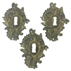 Set of 3 18th Century French Louis XV Period Rococo Escutcheons