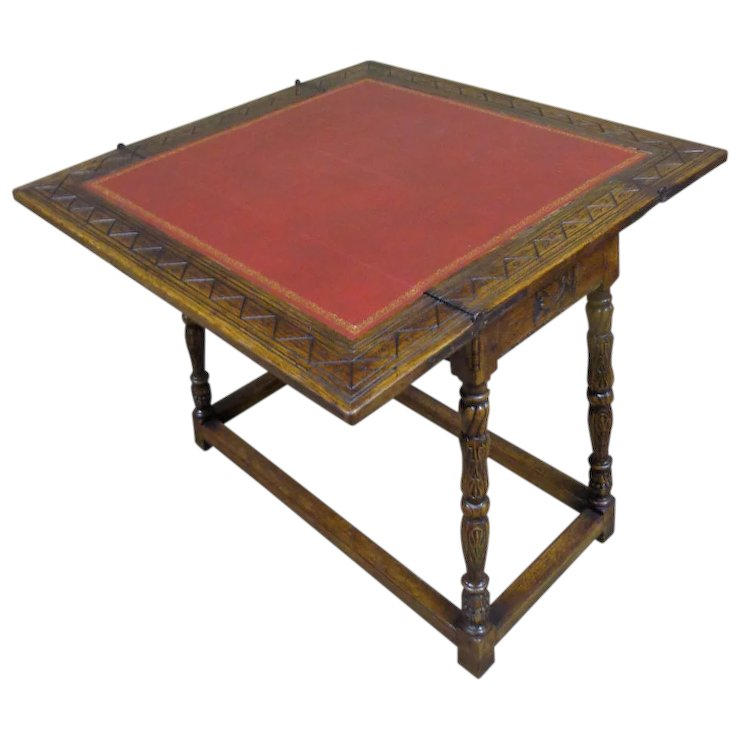 Antique Spanish Oak Folding Game Table