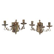 Pair of 19th Century Antique French Louis XVI Style Bronze Sconces