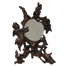19th Century Antique French Angel Vanity Mirror