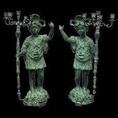 Pair of 19th Century Antique Venetian Bronze Blackamoor Figures Candleholders