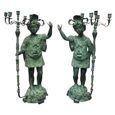 Pair of 19th Century Antique Venetian Bronze Blackamoor Figures Candleholders