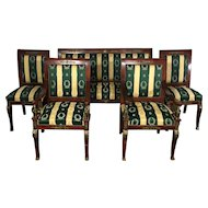 Antique French Empire Style Mahogany Parlor Set One Sofa Two Armchairs Two Side Chairs