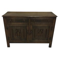 Antique English Oak Gothic Style Buffet