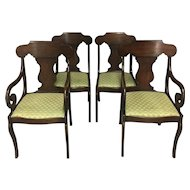 Set of 4 Antique English Regency Style Parlor Set 2 Chairs 2 Armchairs