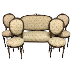 19th Century French Louis XVI Style Parlor Set 1 Sofa And 4 Side Chairs