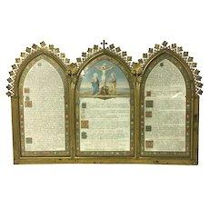 19th Century Antique Bronze Catholic Triptych